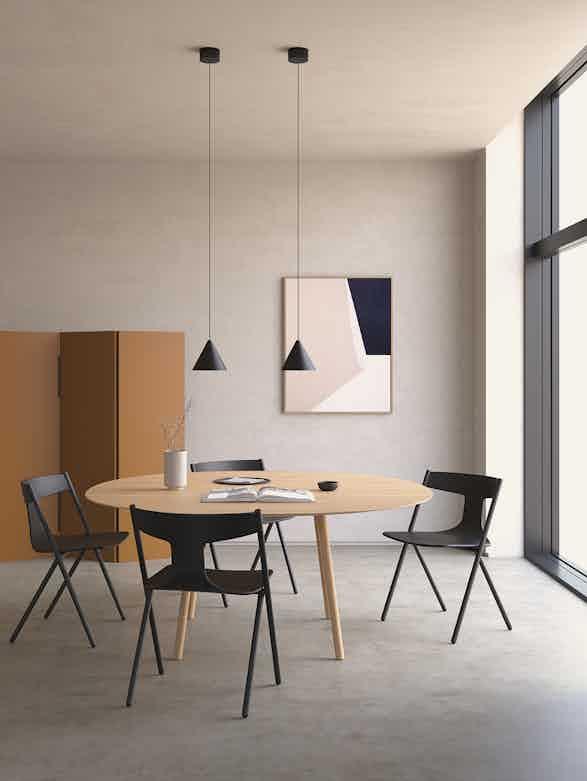 Viccarbe quadra chair dining insitu haute living