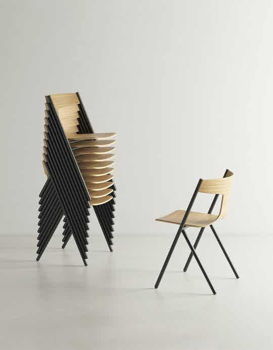 Viccarbe quadra chair stacked haute living