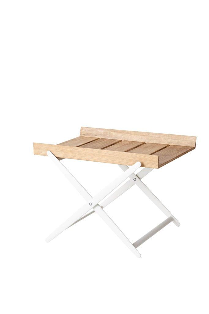 Rail Folding Table Teak White