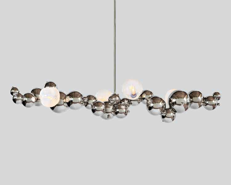 Rosie li bubbly 04 light linear chandelier opal bulb haute living