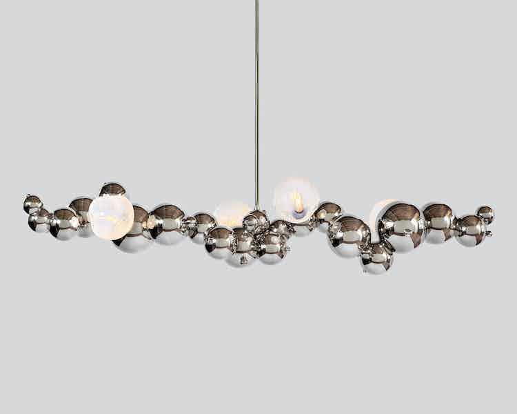 Rosie li bubbly 04 light linear chandelier opal bulb haute living