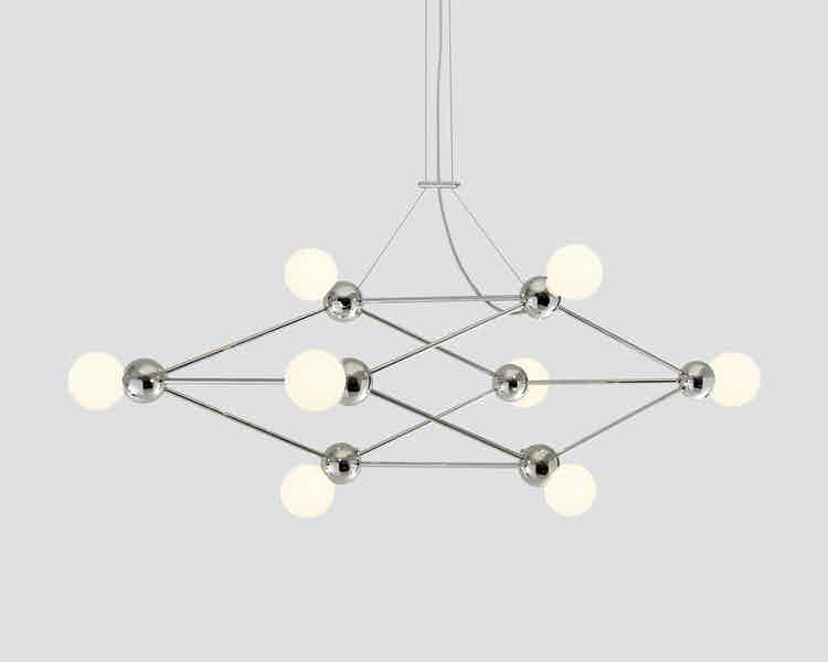 Rosie li lina 08 light schear chandelier nickel haute living