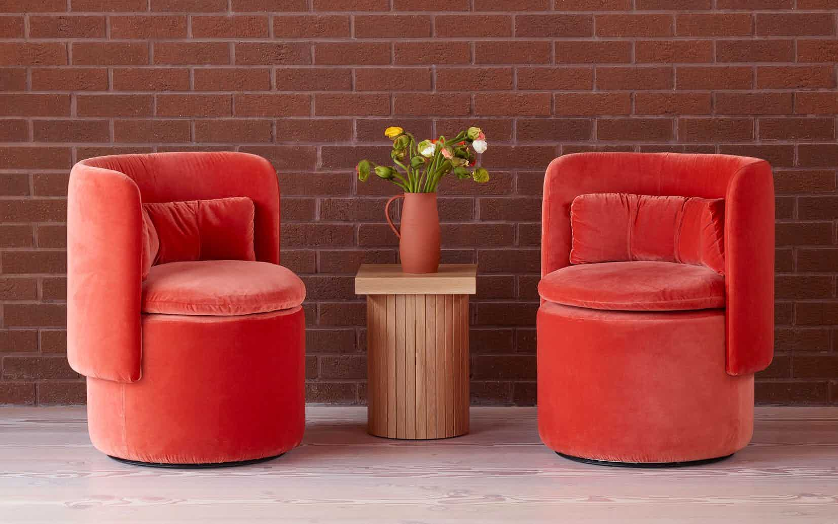 Scp furniture group cocktail chair two red haute living