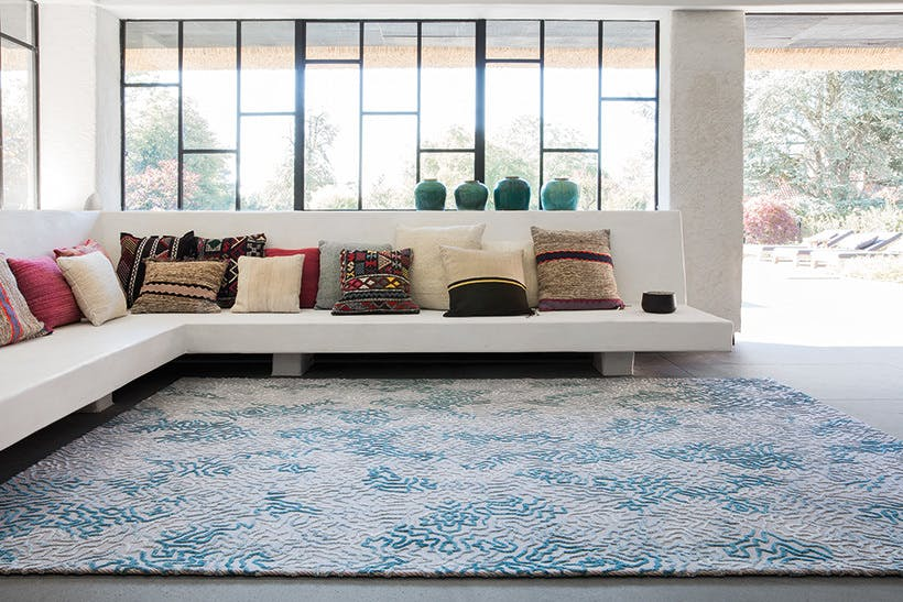 Limited Edition Rugs Shaman Rug Smoke Blue Insitu Haute Living