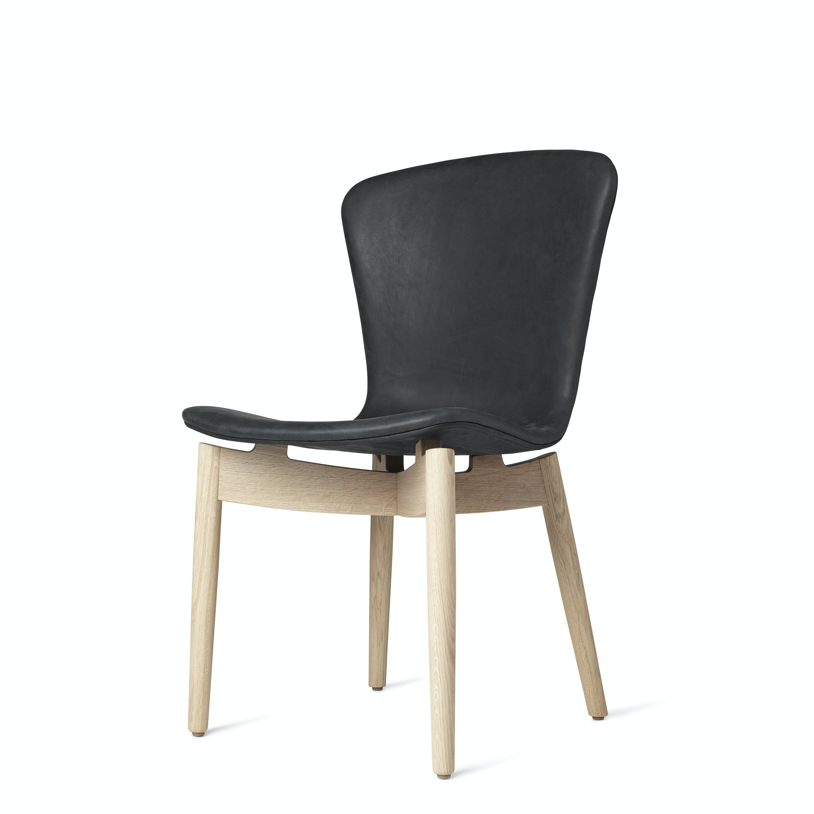 Mater Black Shell Chair Oak Legs Front Angle Haute Living
