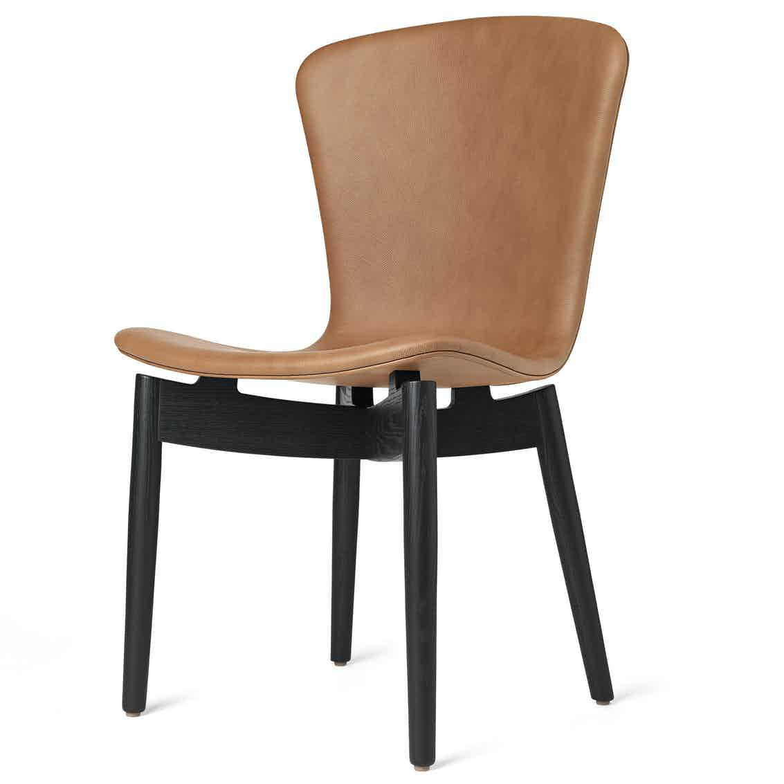 Mater brandy shell dining chair front haute living
