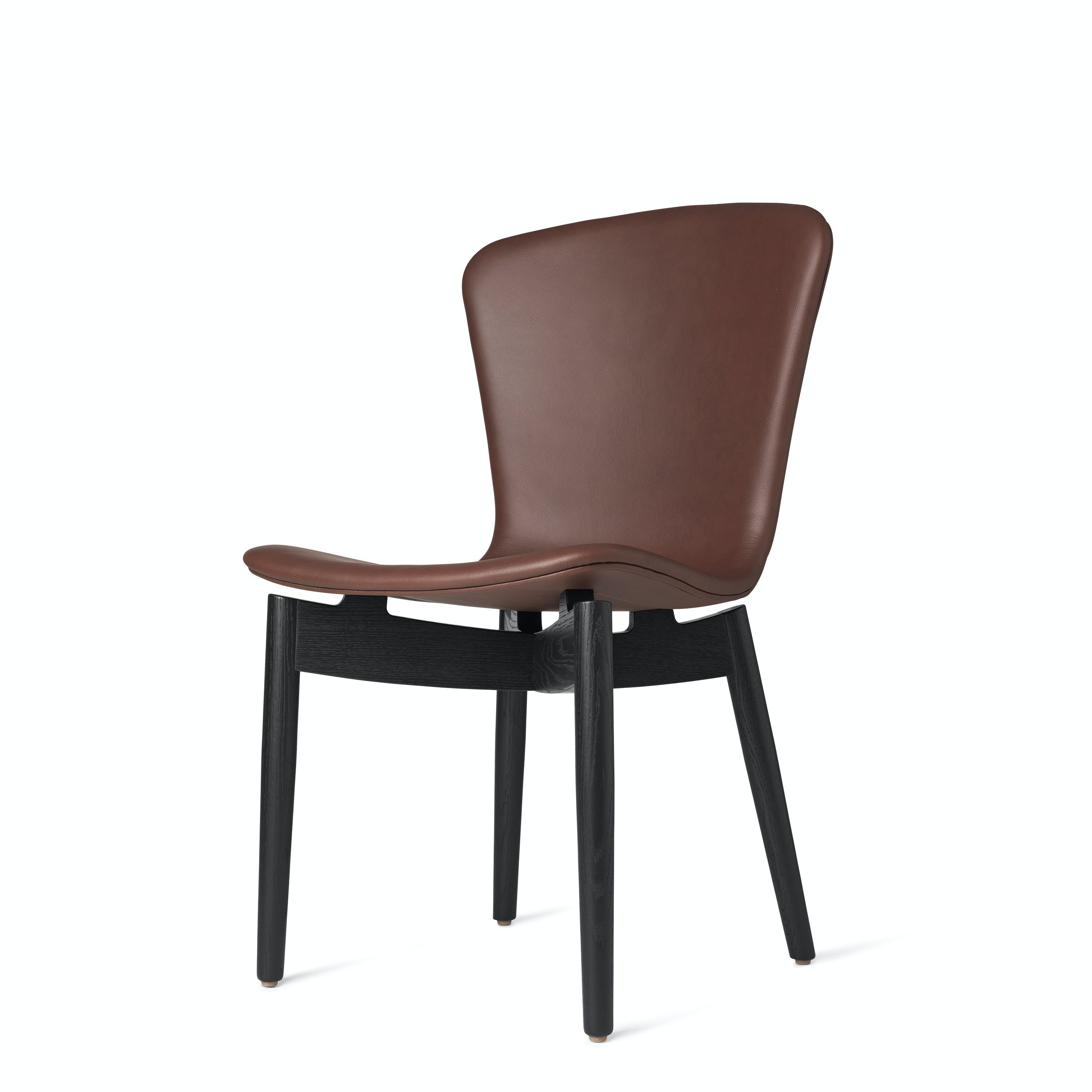 Mater Cognac Shell Dining Chair Black Legs Front Angle Haute Living