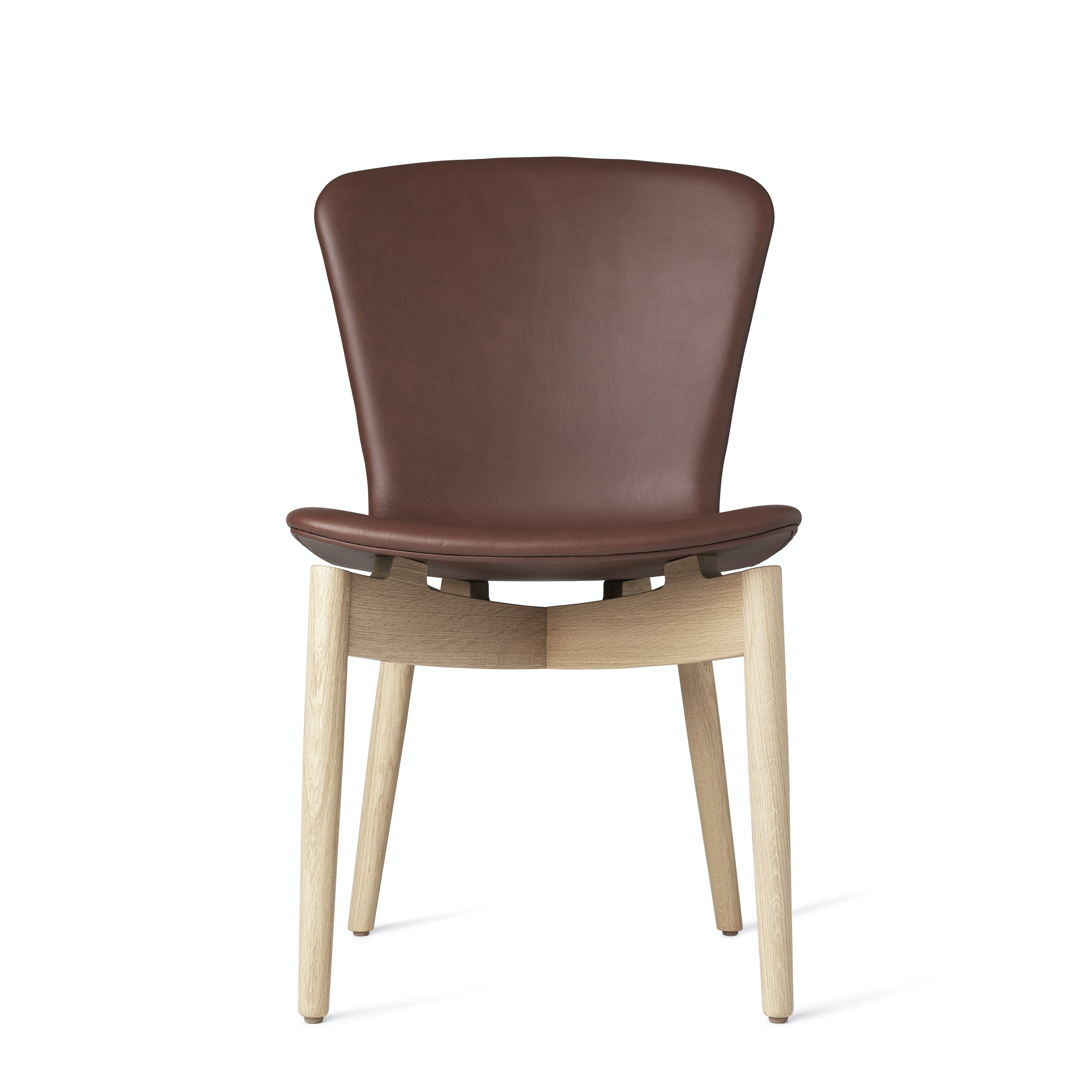 Mater Cognac Shell Dining Chair Oak Legs Front Haute Living