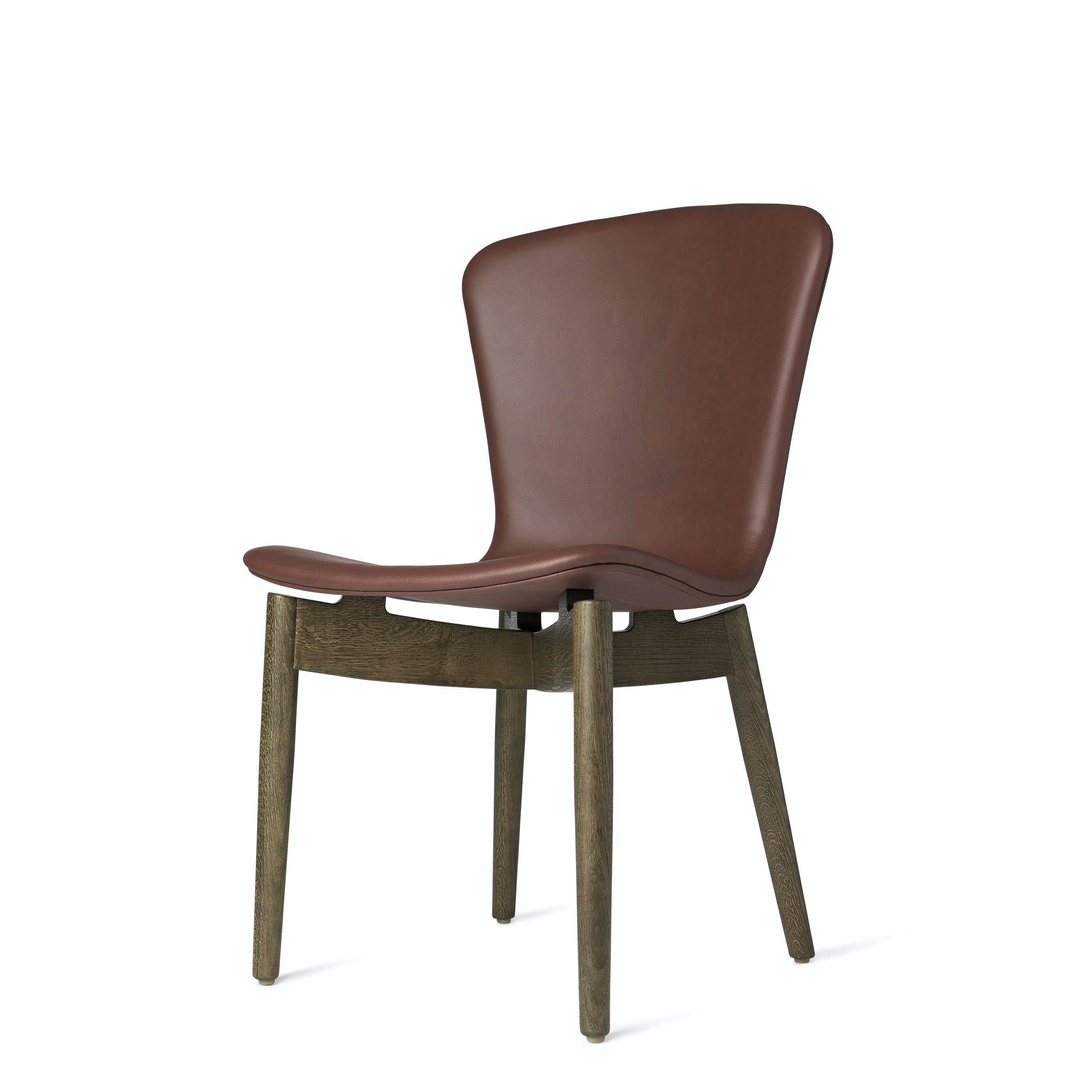 Mater Cognac Shell Dining Chair Stained Oak Legs Front Angle Haute Living