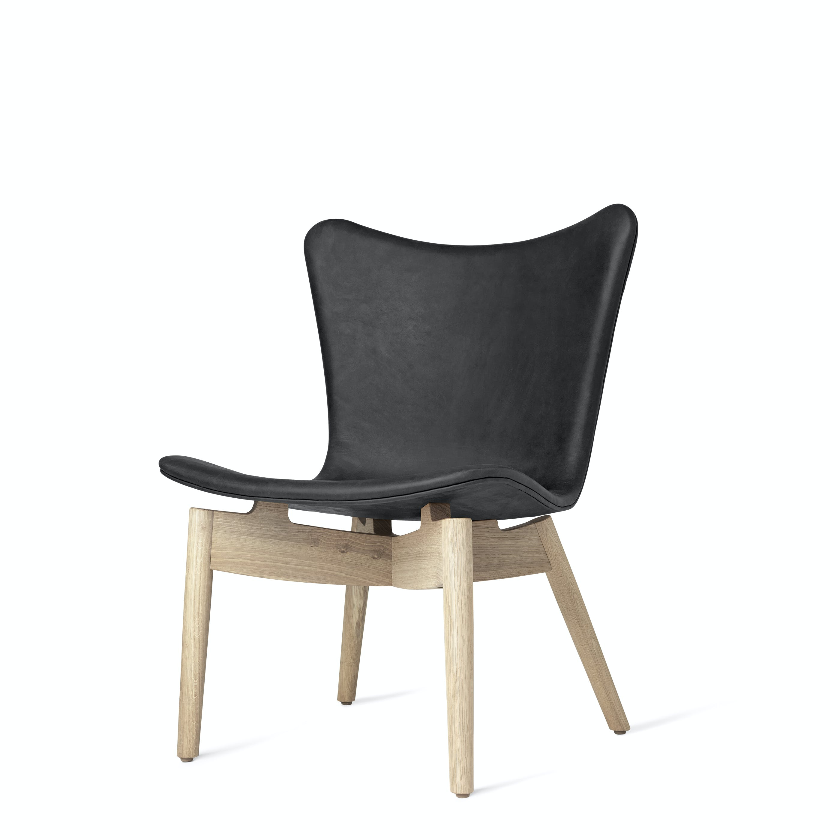 Mater Antracite Shell Lounge Chair Oak Legs Front Angle Haute Living