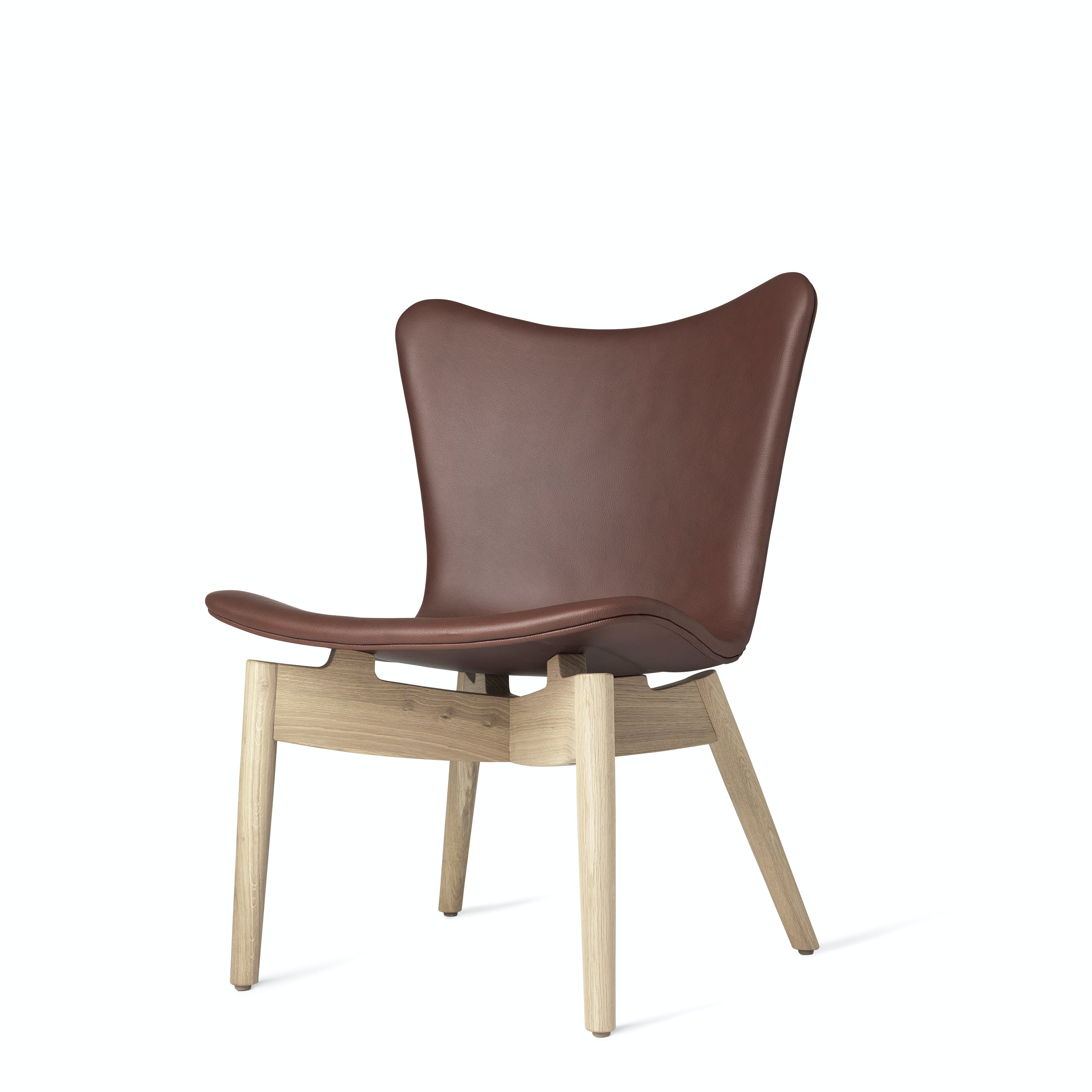 Mater Cognac Shell Lounge Chair Oak Legs Front Angle Haute Living