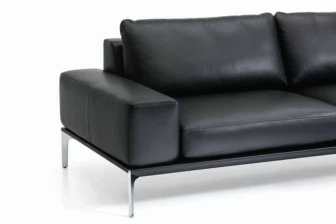 Jab Anstoetz Black Leather Spirit Sofa Wide Side Detail Haute Living