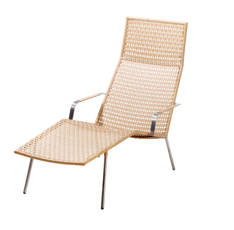 Straw Flat Weave Chaise Lounge Chair Natural