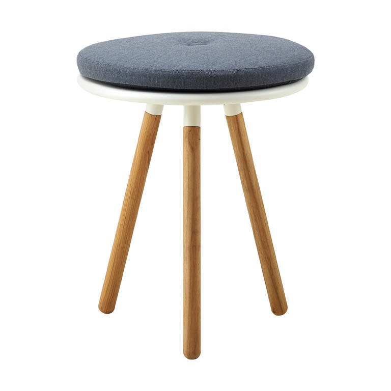 Area Table Stool White W Cushion