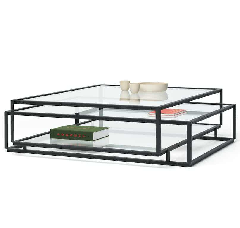 Spectrum furniture tangled coffee table square angle black haute living