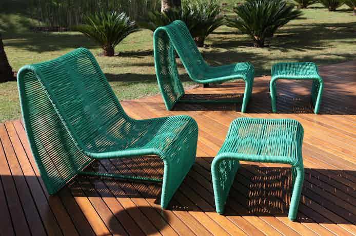 Tidelli sugarloaf lounge chair green insitu haute living