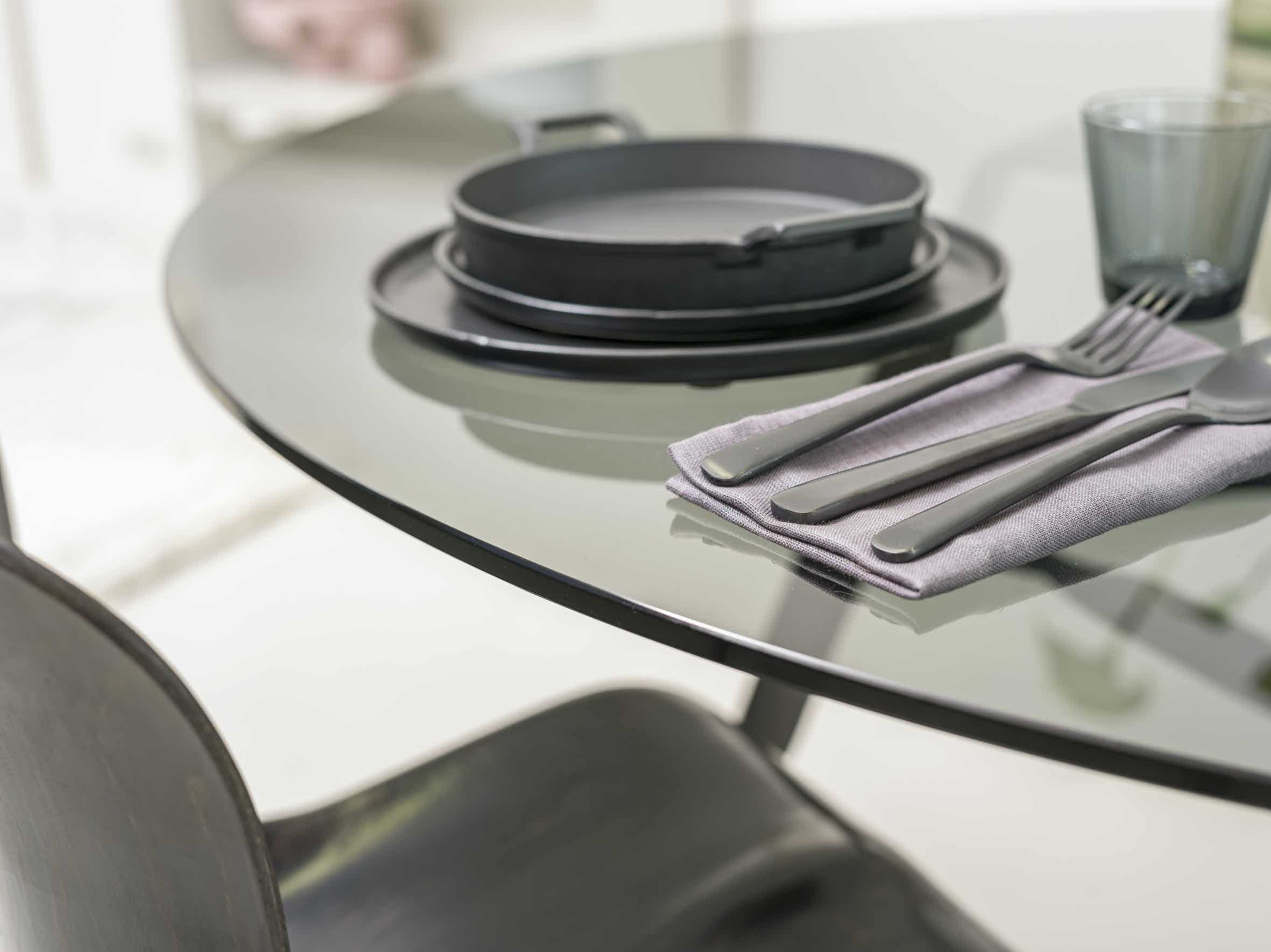Functionals Twist Glass Dining Table Top Detail Haute Living