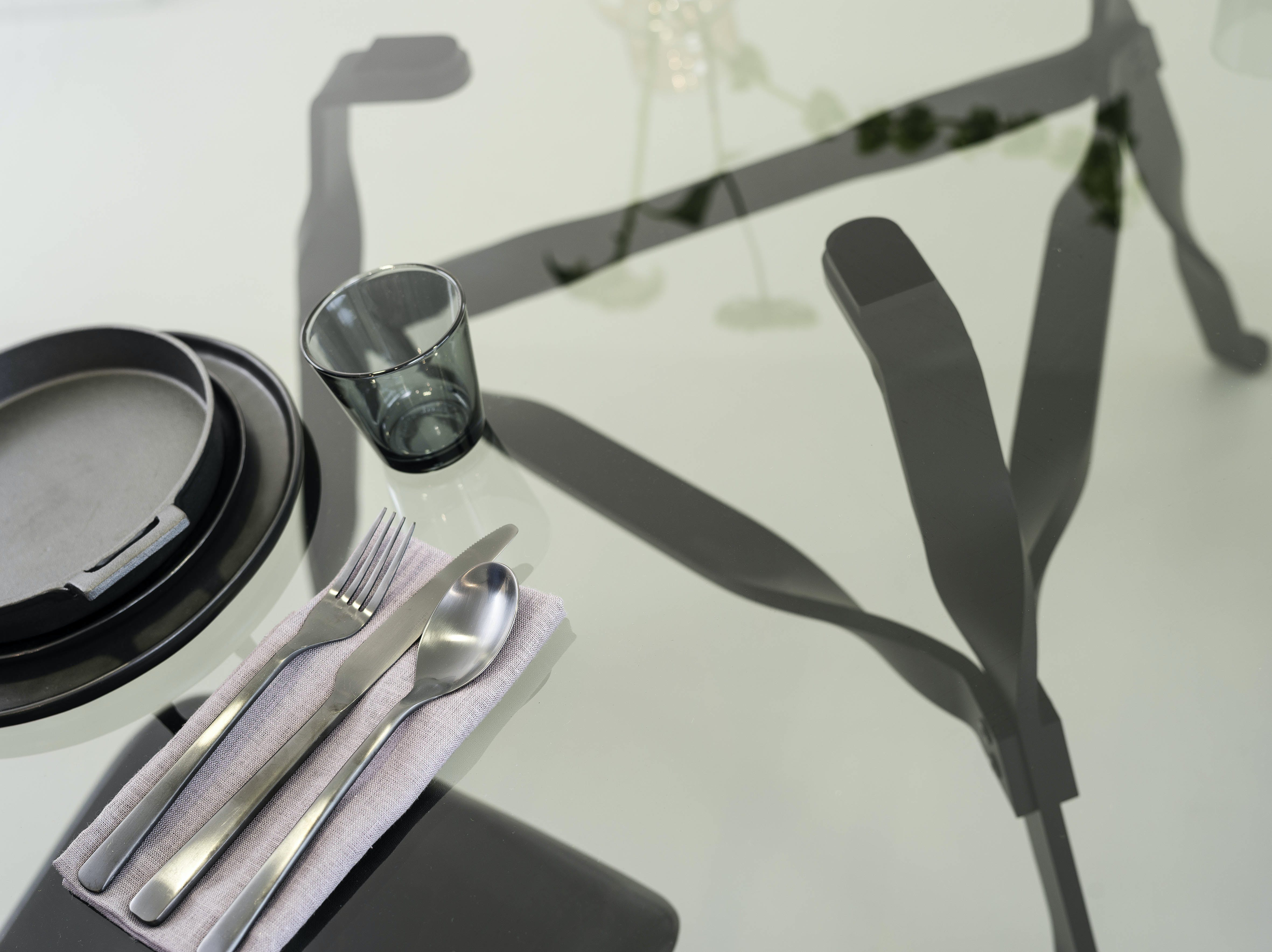 Functionals Twist Glass Table Aerial Detail Haute Living