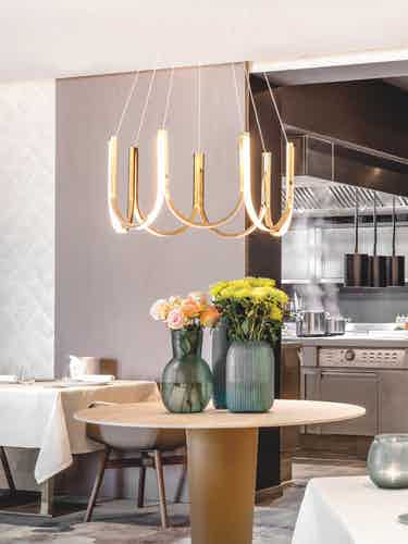 Arpel lighting u7 pendant brass insitu haute living