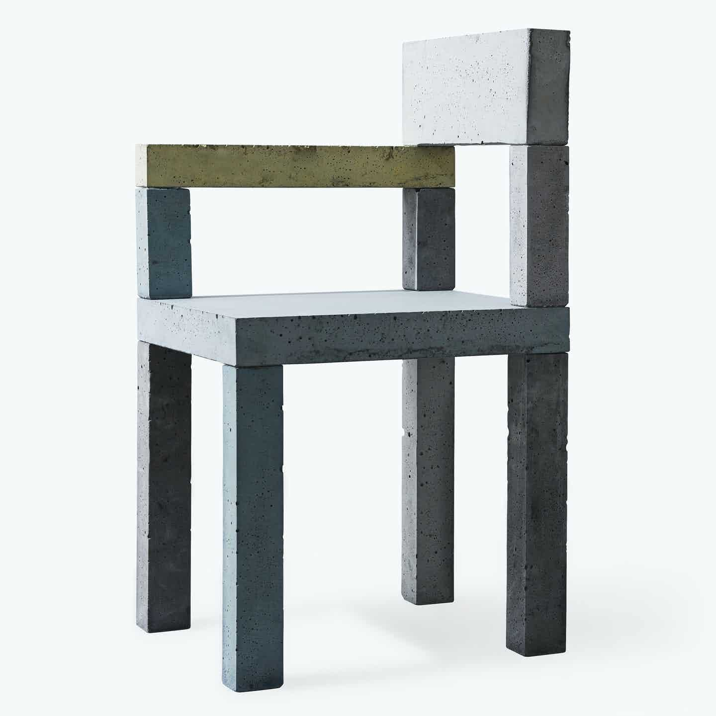 New works furniture untitled concrete chair angle haute living