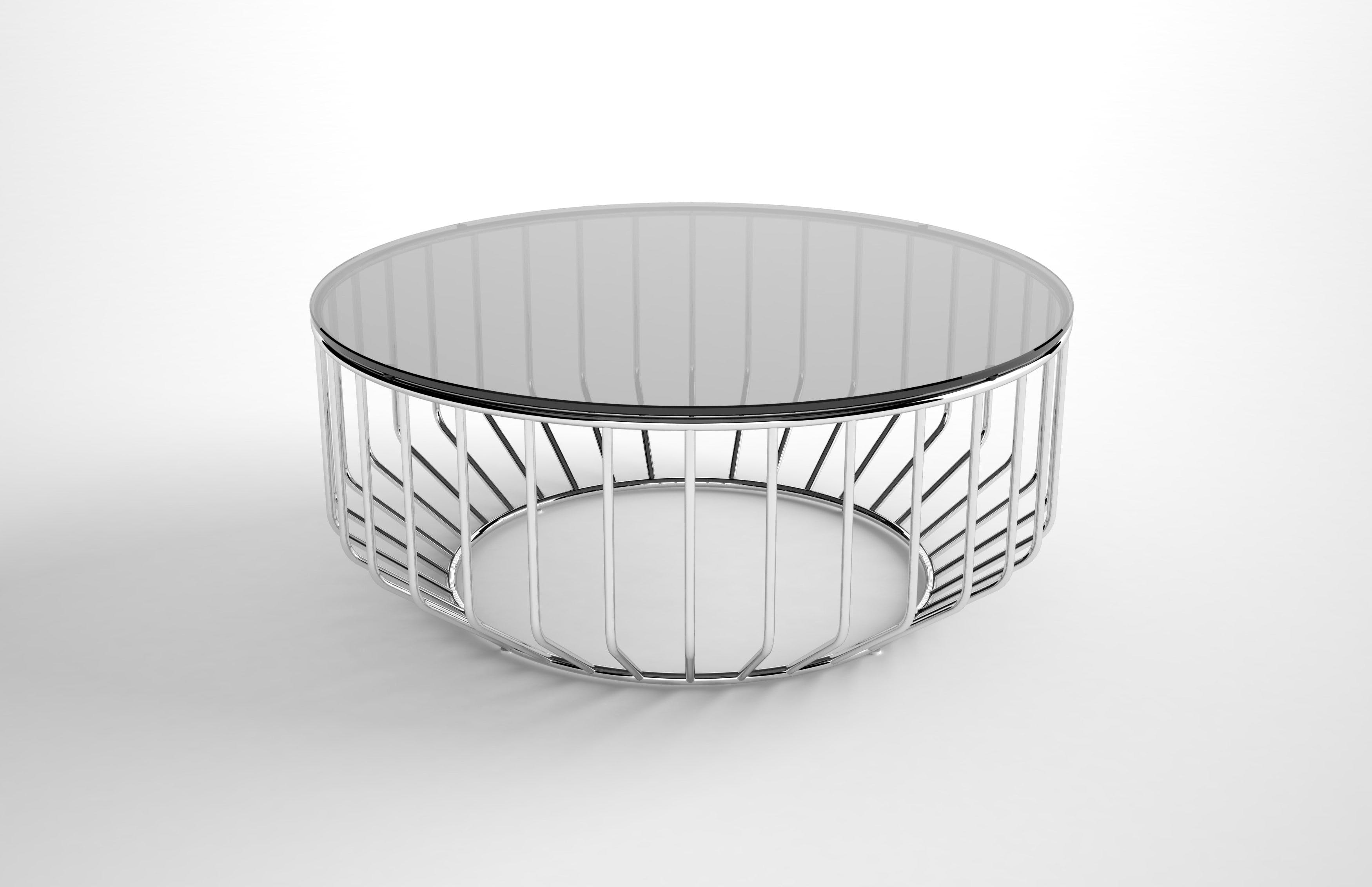 Phase Design smoked glass wired coffee table haute living