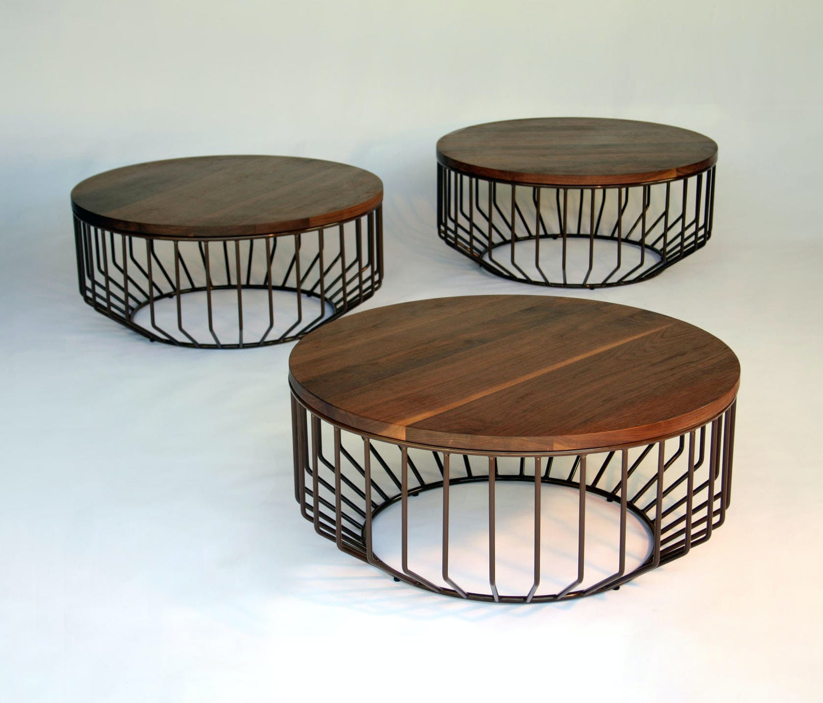 Phase Design Walnut Top Wired Coffee Table Trio Haute Living
