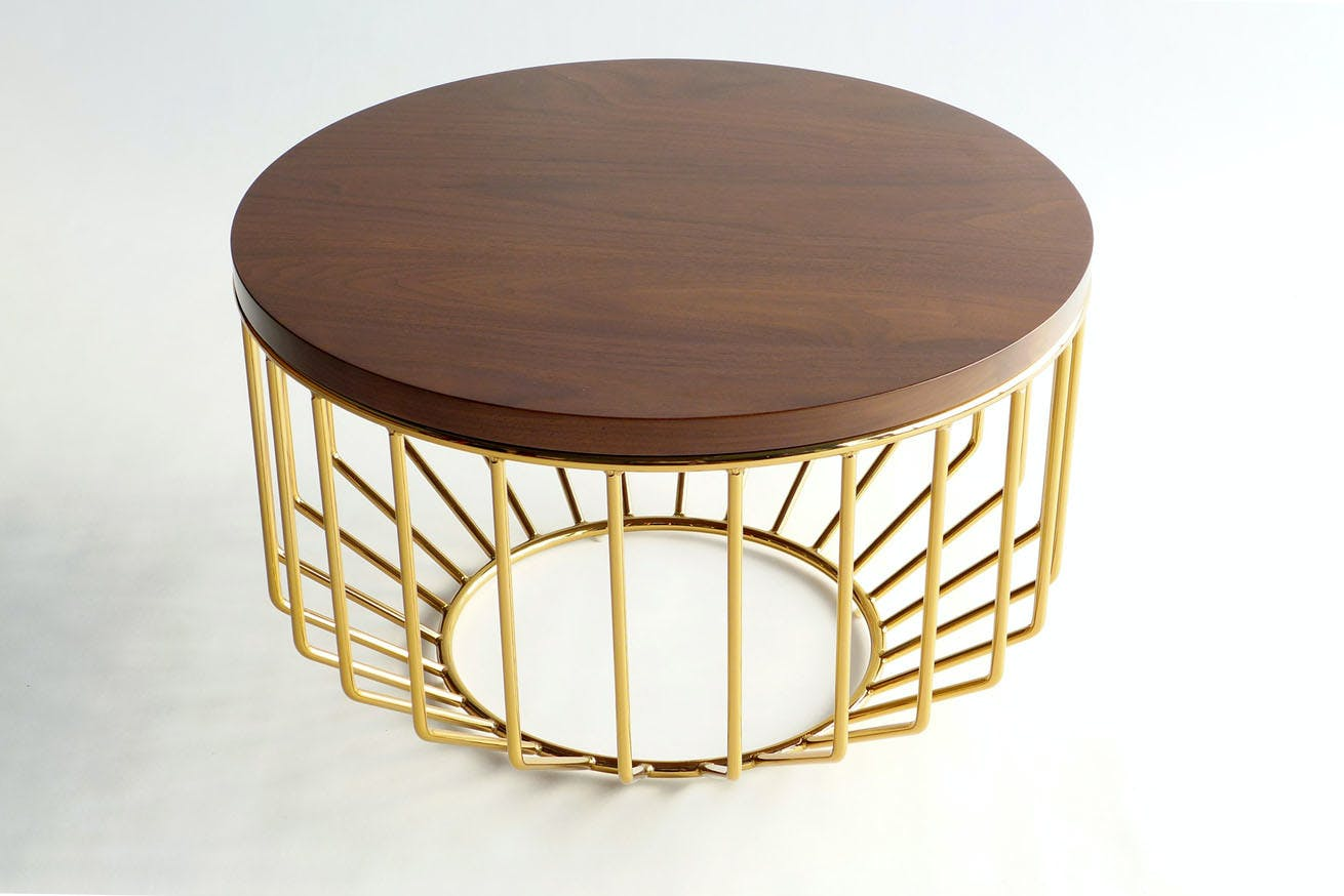 Wired Complement Table Smoked Brass Walnut 1