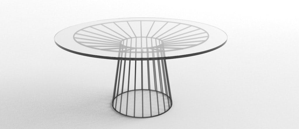 Wired Dining Table With Glass Top